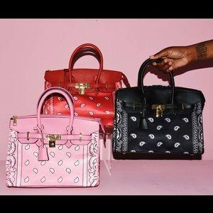 Black Bandana Print Hermès Birkin Style Handbag